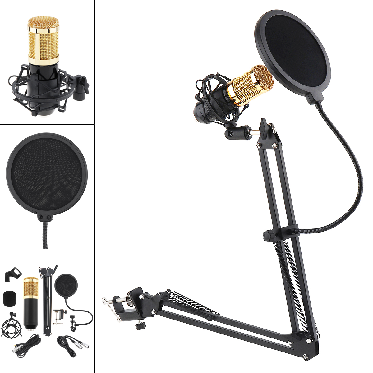 BM 800 Karaoke Professional Condenser Hanging Microphone With Stand Arm And Pop Filter Fit For Computer/Wired Studio/Live