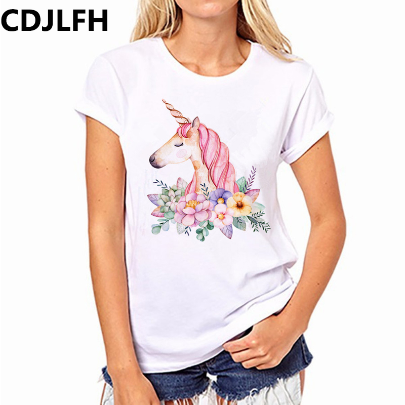 CDJLFH Summer Fashion Women Tshirt Harajuku Unicorn Print T-shirt Kawaii Unicornio T Shirt Leisure Women's Clothing