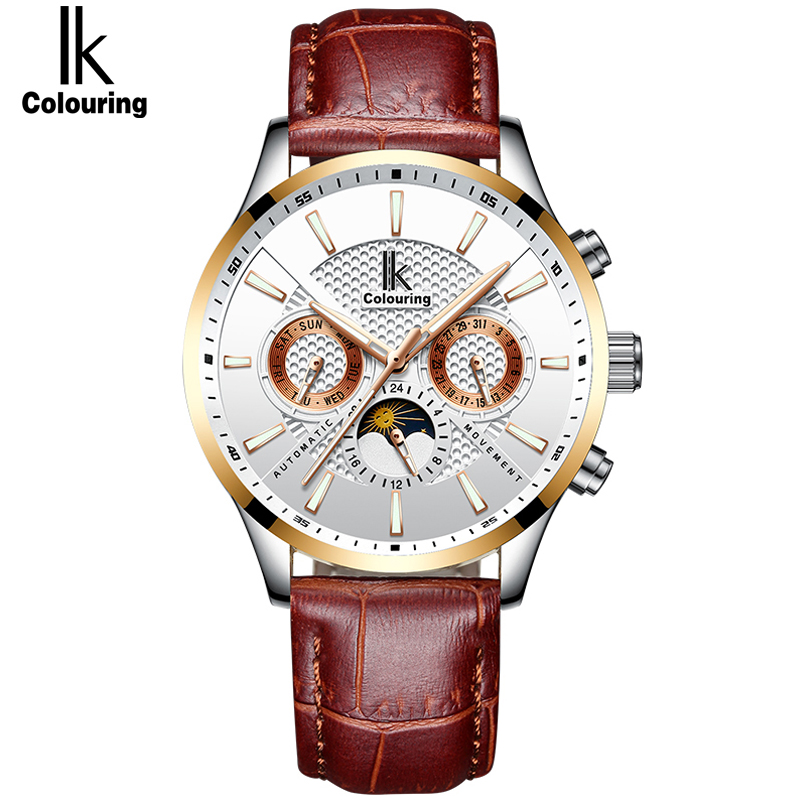 IK Watches Men Luxury Brand Automatic Mechanical Watch Waterproof Calendar Leather Wristwatch Fashion Clock relogio masculin цена 2017