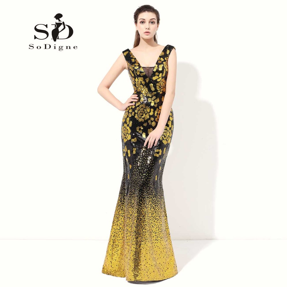 Prom Dress 2017 SoDigne Gold Sequin New Fashion Vestido De Festa Luxury Lace Up Mermaid Evening Dresses Pageant Dresses