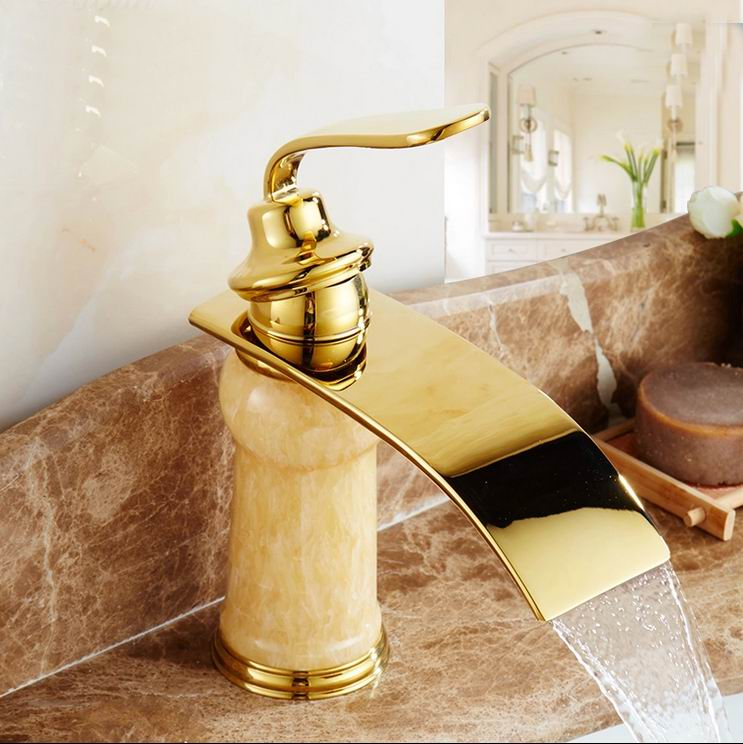 Free Shipping Bathroom Golden jade waterfall bathroom faucet basin sink tap golden waterfall faucet mixer tap Vintage faucet tap стоимость