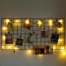 Ins Photo Frame Rack Holder Postcards Mesh Frame Home Decorate Metal Grid Frame Wall Photos Grids DIY Decoration Iron Storage