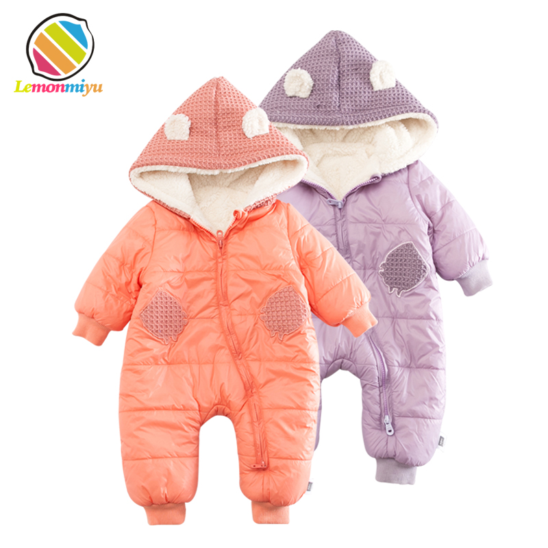 Lemonmiyu Baby Fleece Winter Rompers Solid Cotton Full Zipper Hooded Newborn Cartoon Jumpsuits Plus Velvet Infants Cute Outwear 2016 winter new soft bottom solid color baby shoes for little boys and girls plus velvet warm baby toddler shoes free shipping