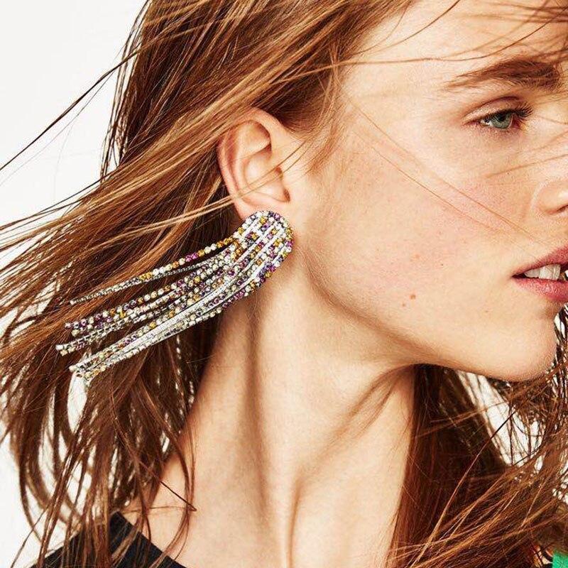 Best lady Luxury Bohemian Multi Colors Tassel Long Earrings Jewelry Women Fashion Wedding Hot Boho Stud Earrings Wholesale Charm