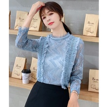 Autumn New Fashion Women Shirts Hollow Lace Chiffon Shirt Top Long Sleeve Tops Blusas