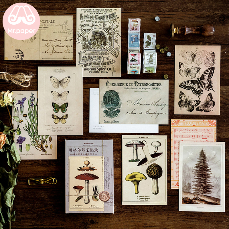 Mr.Paper 30pcs/box Ancient Forest Animals Plants Specimen Postcard Vintage Retro Style Creative Writing Greeting Gift Postcards