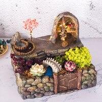 Resin Flowerpot Garden Planter Flower Pot House Landscape Vase Home Decor with LED String