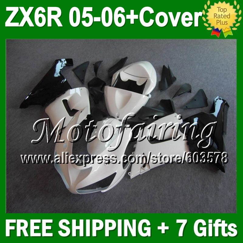 7 подарки + майка черный для KAWASAKI ниндзя ZX6R 05 06 JM989 ZX 6R глянцевый белый черный ZX 6R 636 ZX636 05 06 2005 2006 зализа