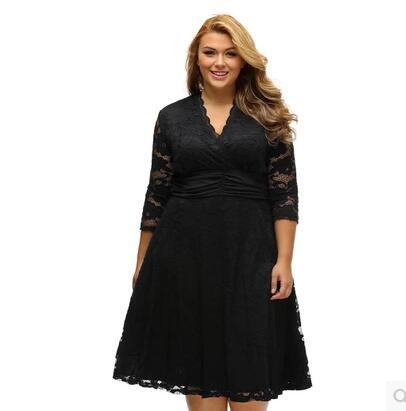 2017 summer dress Sexy V-cou sept-point manches mini dentelle dress station nouvelle mode grande taille dress pas cher vêtements chine dress