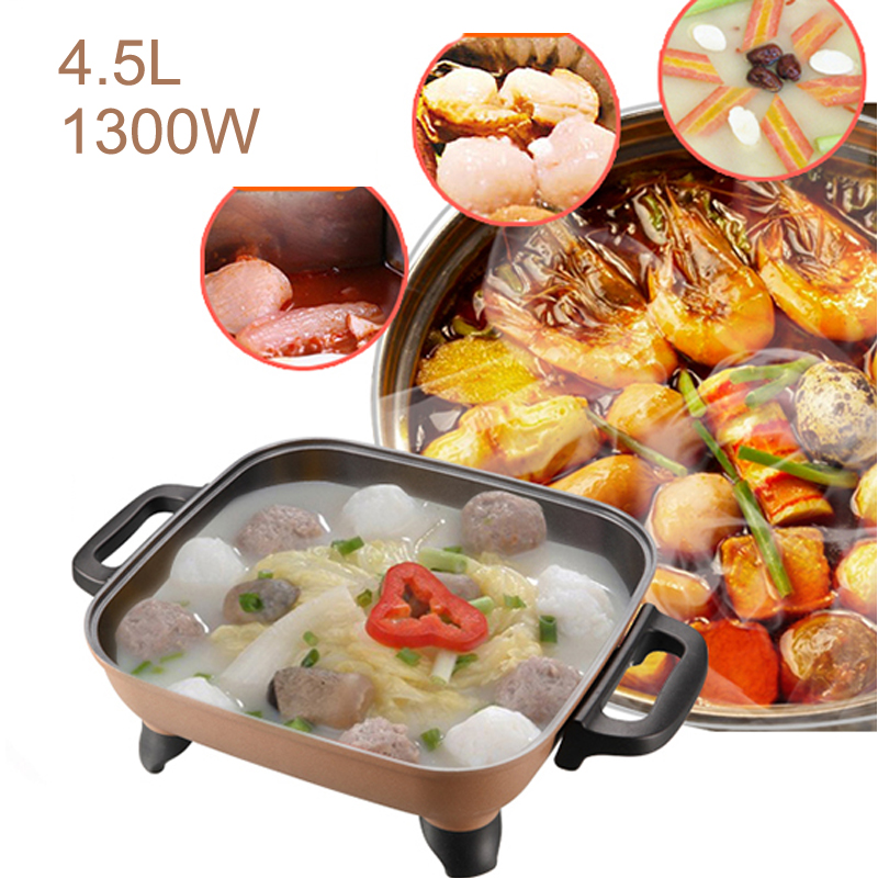 JA33,Multi Cookers 4.5L 1300W 5-shift Knob Type Temperature Control Electric Non-stick Hot Pot Cooker for Stew Soup Fry torx shape dn50 heating elements for soup bucket pot cinquefoil type 2 thread electric heat tube for cooker