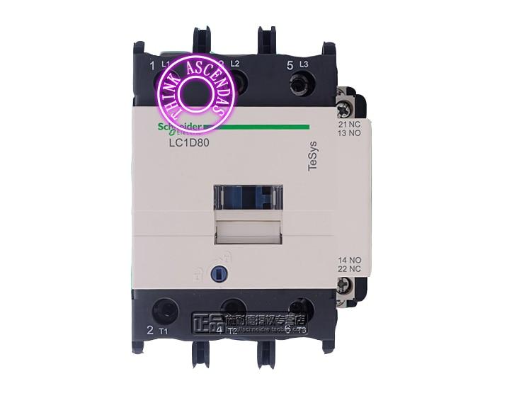 LC1D Series Contactor LC1D80 LC1D80B7 LC1D80C7 LC1D80CC7 LC1D80D7 LC1D80E7 LC1D80EE7 LC1D80F7 LC1D80FC7 127V / LC1D80FE7 115V AC new cad50bdc dc24v tesys d series contactor control relay 5no 0nc