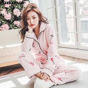 Image 4 - Thick Warm Flannel Pajamas Sets Winter Women Two Piece Pajama Set Cartoon Female Sleepwear Home Clothing Womens Pajamas Suit