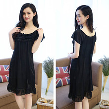 Lace nightdress female spring and autumn sweet home service lace long skirt short-sleeved summer