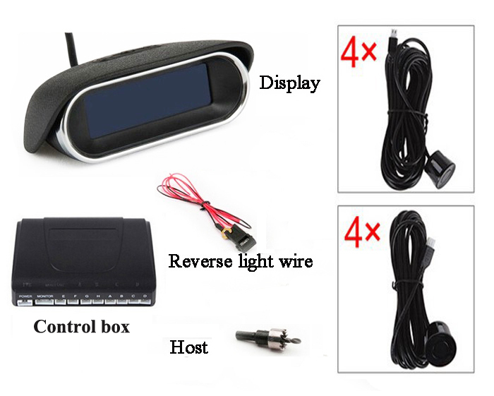 Car Parking Sensor 8 Rear Front View LCD Display Reverse Backup Radar System Kit