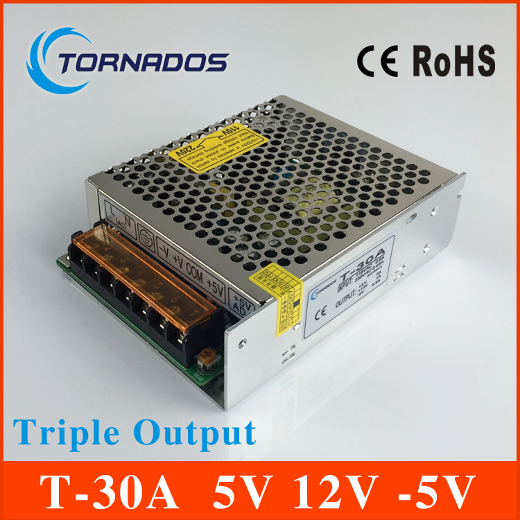 30W Triple output switching power supply 5V 12V -5V 3A 1A 0.5A power suply T-30A High quality ac dc converter