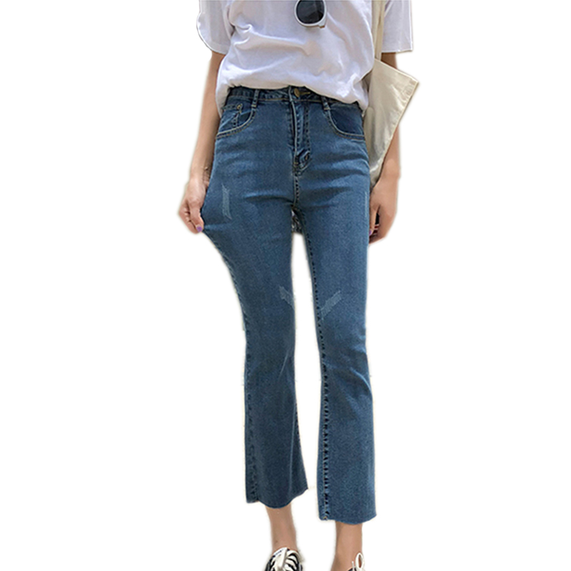 Women Skinny Jeans Casual Stretch Straight Flare Hole Ankle Length High Waist Jeans Summer Fashion Scratched Slim Fit Denim Pant