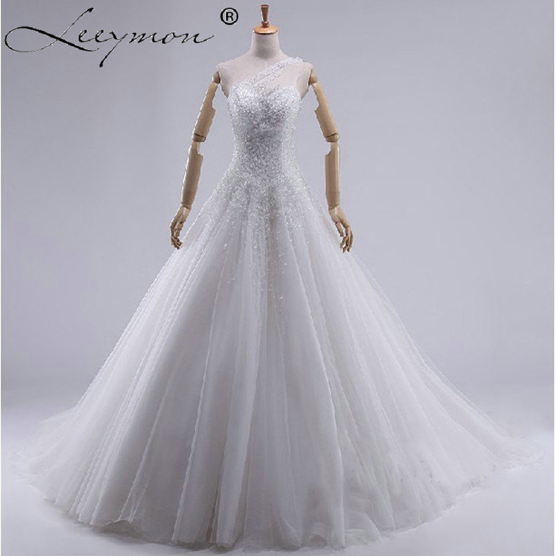 3b5e9e707 W180 White Romantic Beading Tulle Wedding Ball Gown One Shoulder Church Bridal  Gown Long Puffy Beaded