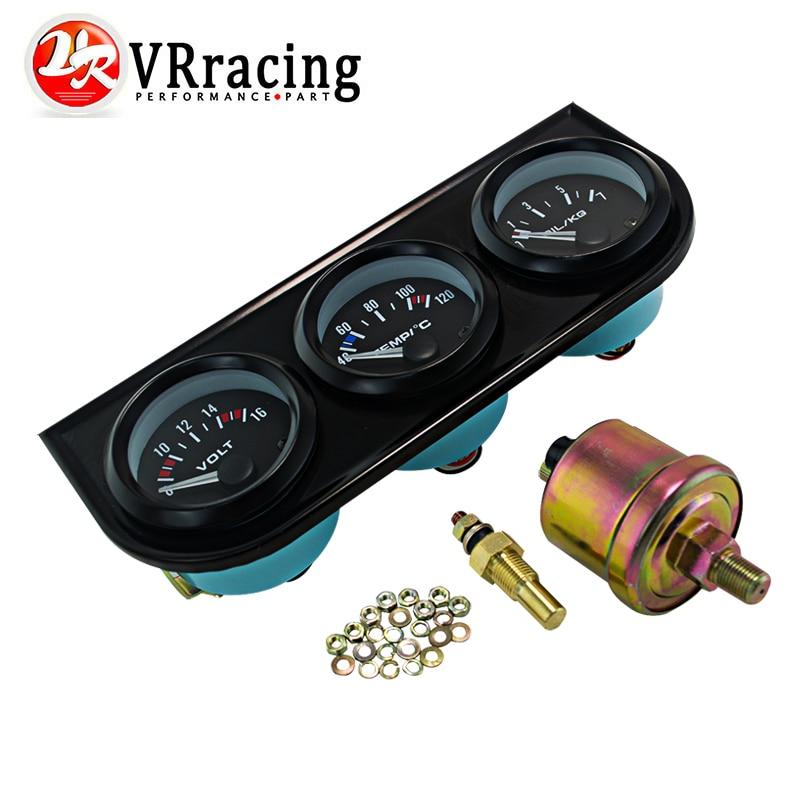 Prix pour VR RACING-52mm Triple gauge 3 en 1 (presse à huile Jauge + Water Temp Gauge + Voltmètre) capteur 52mm Auto Gauge Voiture Compteur VR-TAG02