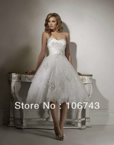 free shipping 2018 sweetheart Tea length bridal gown beach short summer short lace corset vestido de noiva   bridesmaid     dresses