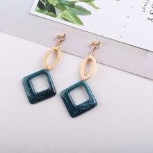 JIOFREE Korea Style fashion acrylic Clip on earrings Without Piercing For Women Fashion Jewelry No Pierced Earring