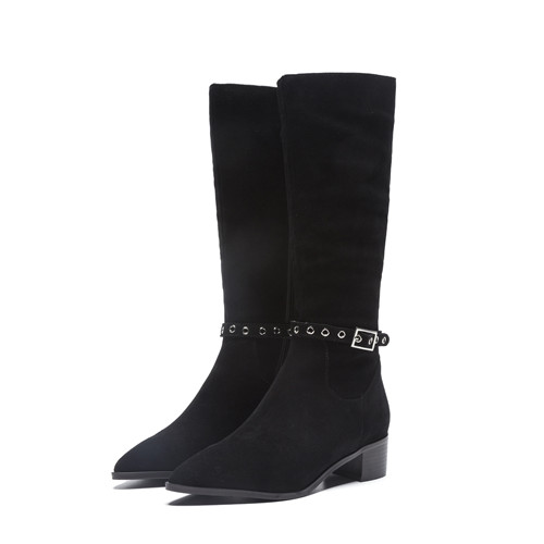 Женские зимние сапоги до колена на плоской подошве; облегающие рыцарские сапоги с пряжкой на лодыжке; женские высокие сапоги высокого качества; теплые плюшевые сапоги; обувь - Цвет: black 2.5cm heel