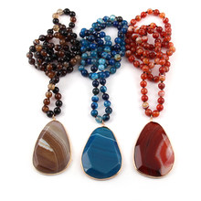 Fashion Bohemian Tribal Jewelry Beautiful Stripe Natural Stone long Knotted Necklaces Facet Drop Pendant Women Ethnic Necklace(China)