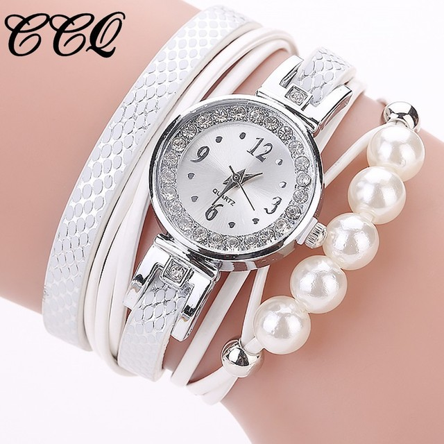 CCQ Fashion Women Silver Bracelet Pearls Charm Clock Wrist Quartz Watch Luxury L