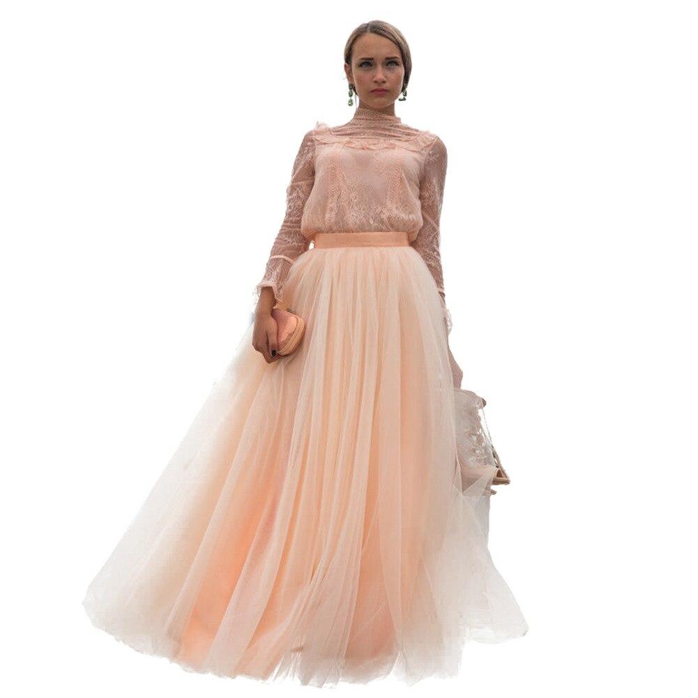 Woman Tutu Female Long Skirt Floor Length Wedding Skirt Tulle Overskirt Sexy Pleated Fashion Handmade Lolita Saia Longa