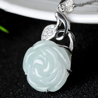 Chinese style hand carved lucky amulet rose necklace gift for girl S925 silver jewelry natural yu rose pendant for women /