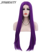 JOY&BEAUTY Purple Color Glueless High Temperature Fiber Hair Long Straight Hair