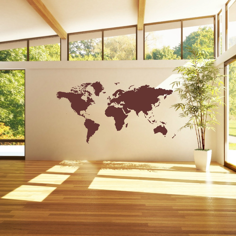 Hot Home Decor World Map Atlas Wall Sticker Art Curved Vinyl Bedroom ...