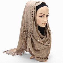 Exquisite Woman hijab Solid Color Rhinestone Shining Match Chiffon Silk Popular Shawls Scarf Headband Muslim Turban 13 Colors