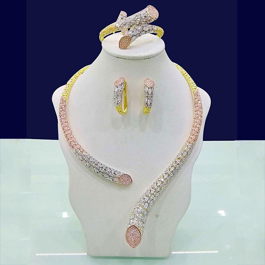 GODKI luksusowe geometria cyrkonia nigerii ślubne biżuteria zestawy dla kobiet Indian DUBAI zestaw biżuterii ślubnej bijoux femme parure w Zestawy biżuterii od Biżuteria i akcesoria na  Grupa 1