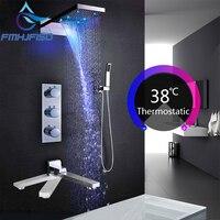 Concea светодиодный ванны и душа Смесители светодиодный Роскошный водопад Насадки для душа термостатический 4 способа клапан Ванная комната н