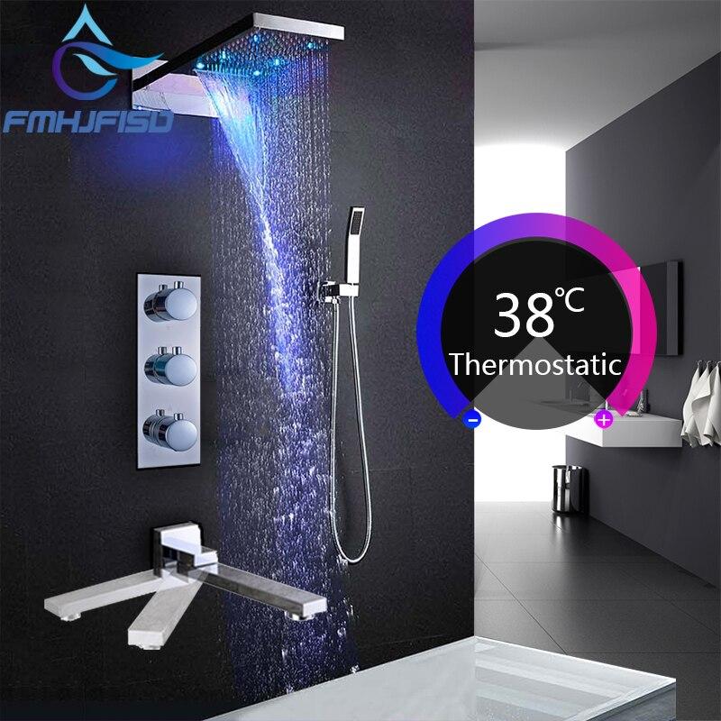 Concea светодио дный ванны и душа Смесители светодио дный Роскошный водопад Насадки для душа термостатический 4 способа клапан Ванная комната ...
