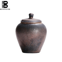 Retro Coarse Pottery Rust Glaze Tea Caddy Ceramic Tea Cans Coffee Powder Storage Canister Spice Seasoning Sealed Jars Home Decor
