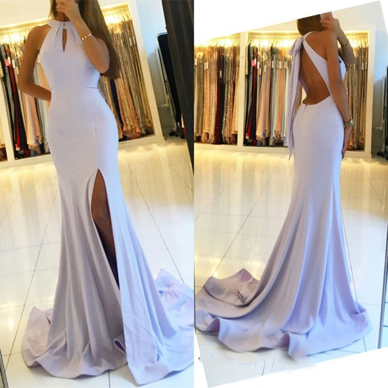 Glamorous Halter Mermaid Bridesmaid Dresses 2018 Sexy Backless Side Split Floor Length Party Gowns Robe De Soiree Prom Dress