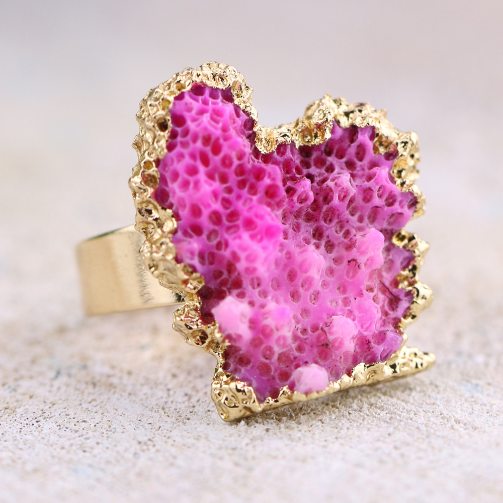 Rare Coral Reef Rings Natural Drusy Rings Aquarium Irregular Druzy ...