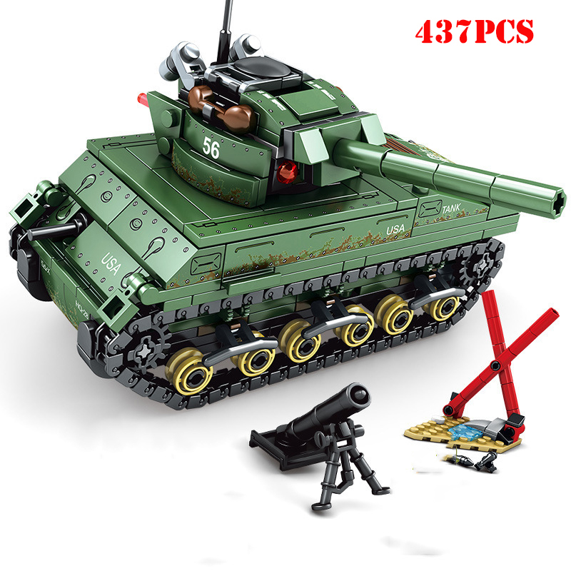 Military-World-War-2-Sherman-Medium-Tank-Building-Blocks-Compatible-City-Army-WW2-Weapons-Enlighten-Bricks