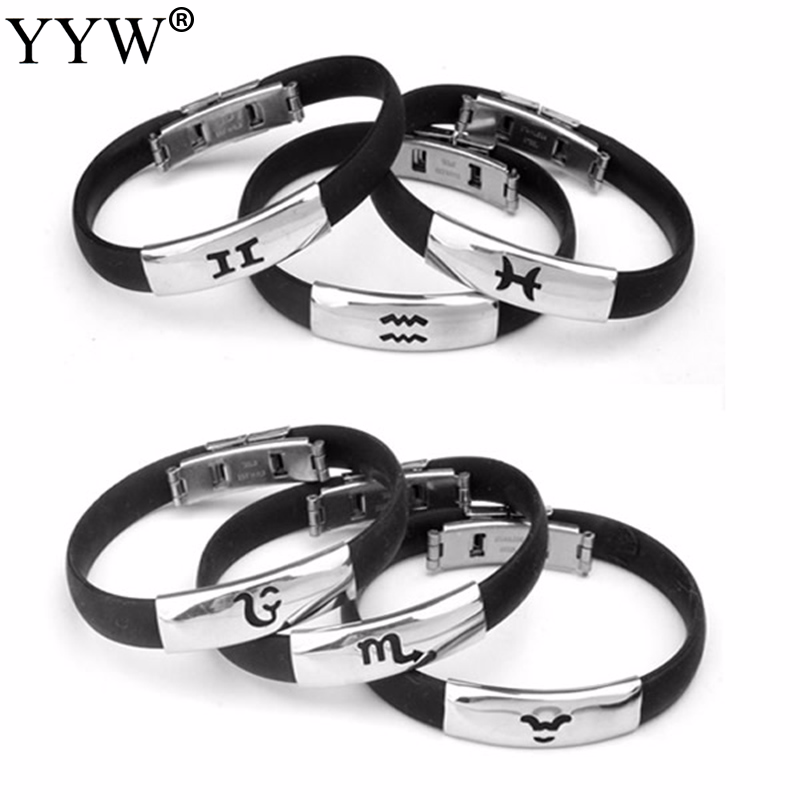 High Quality Stainless Steel Silicone Bracelets Womens Jewelry Clasps Black Rubber Clasp Zodiac Constellation Bangle Signs