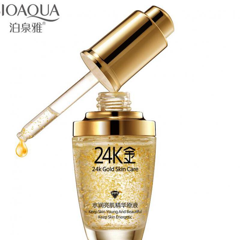 2017 New Arrival New Female Ageless Bioaqua 24k Gold Face Cream Whiten 24 K Day Hydrating Essence Serum For Women Skin Care