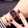 Ultra-delgado de la Señora Relojes GUOU Marca Fashion Square Reloj de Cuarzo Relojes Relogio masculino Impermeable de la Mujer de Cuero Genuino