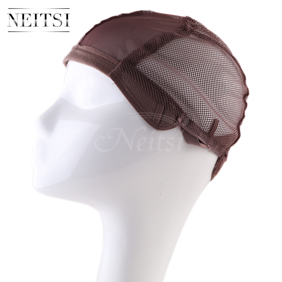 Neitsi Elastic Lace Wig Caps For Making Wigs With Adjustable Strap Bonnet Lace Perruque New Nylon Hairnet Snood 10pcs/pack Brown