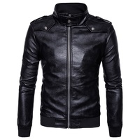 New Motorcycle Jacket Veste Cuir Homme 2018 Fashion Mens Winter PU Leather Jackets Casual Zipper Pocket Male Leather Jacket Coat