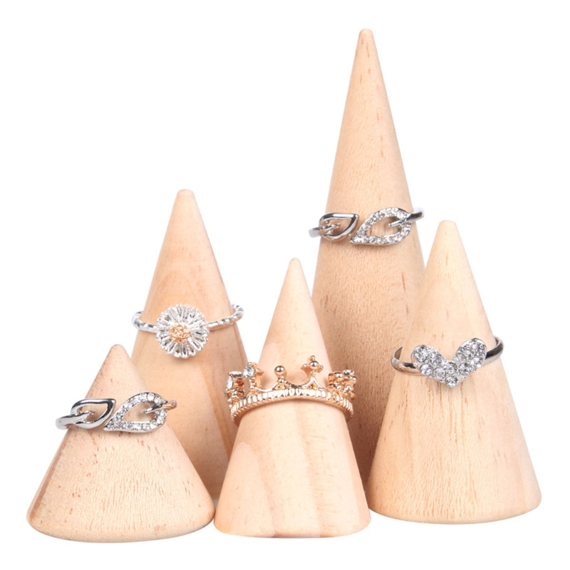 Natural Unpainted Wooden Ring Jewelry Display Rack Stand Cone Shape Holder Organizer