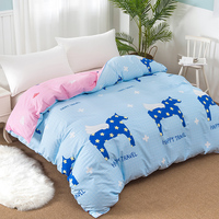 Cartoon Animals horse printing duvet cover blue pink Pure cotton quilt cover twin full queen king size bedding blanket cover