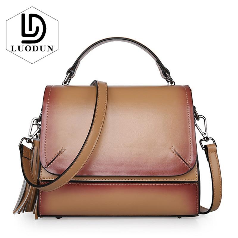 LUODUN Luxury Brand Women Leather handbags 2018 New Designer Bags ladies Shopper Bag High Quality shoulder Messenger ring bag недорго, оригинальная цена