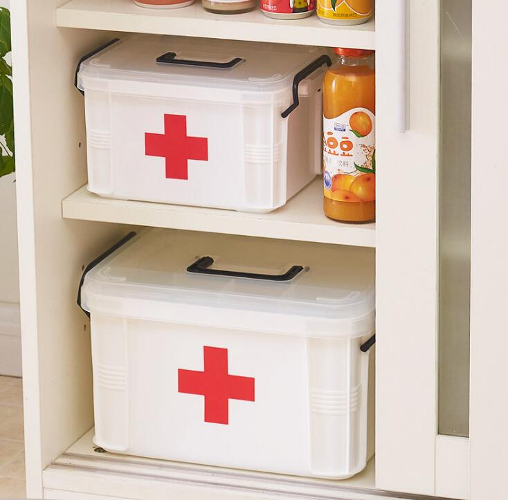 Oversized medicine box thick multi-layer medical kit child first aid kit family medicine storage box storage box new gbj free shipping home aluminum medical cabinet multi layer medical treatment first aid kit medicine storage portable