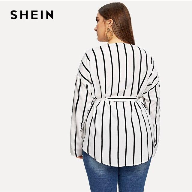 SHEIN White Asymmetrical Plus Size V-neck Belted Striped Blouses Women 2019 Elegant Spring Long Sleeve Highstreet Tops Blouse 1