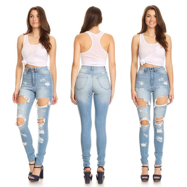 2019 Spring Summer Women Jeans Destroyed Ripped Hole Slim Boyfriend Jeans Ladies Casual High Waist Pencil